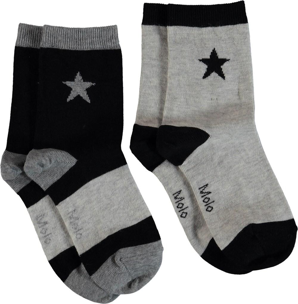 Nitis - Light Grey Melange - Strømper med stjerner.