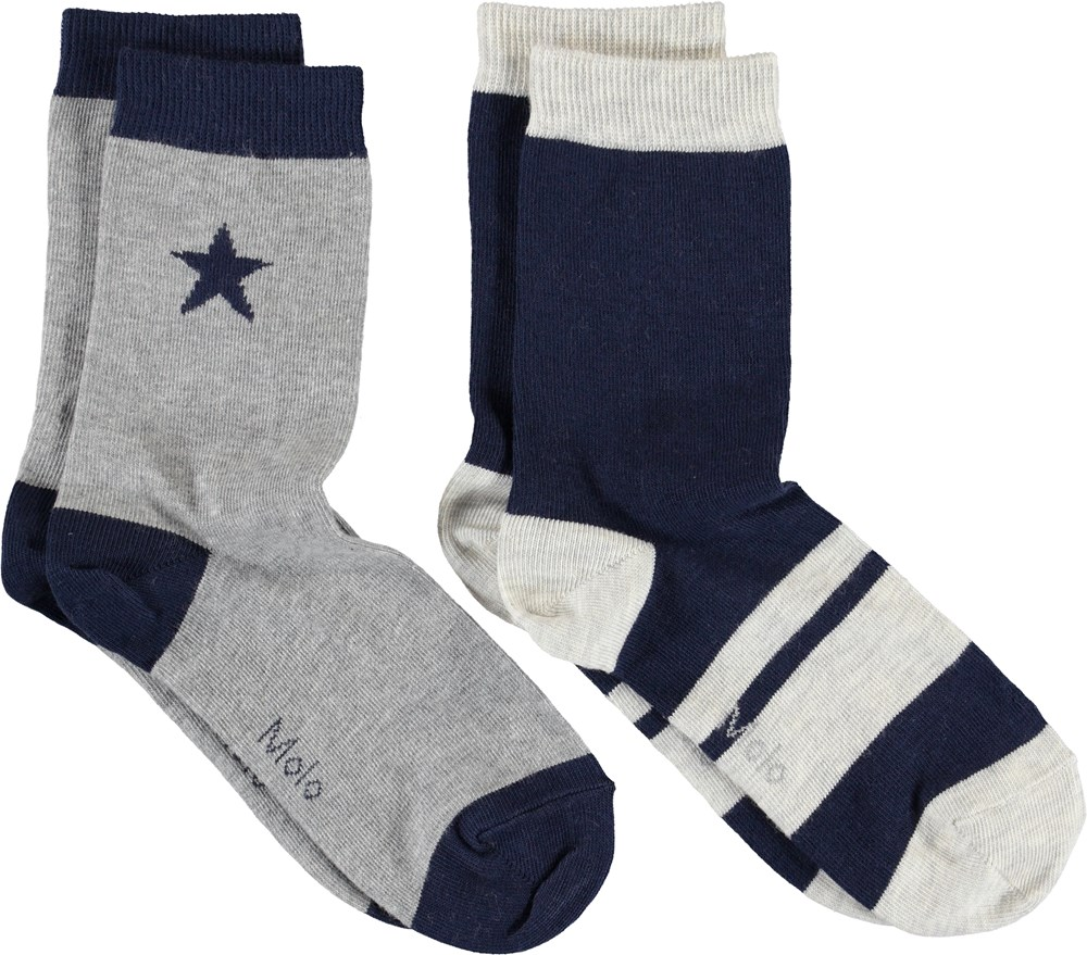 Nitis - Sailor - Blå og grå strømper med stjerner