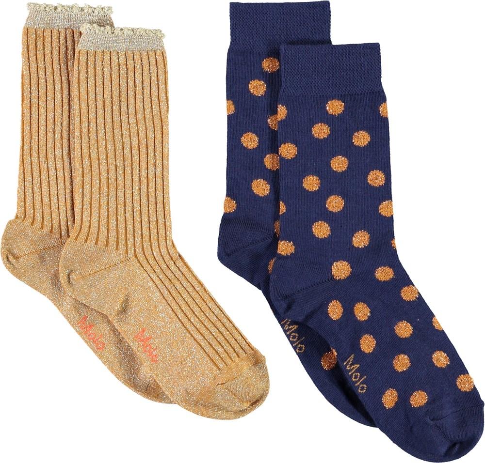 Nomi - Gold - To par strømper i guld og prikker