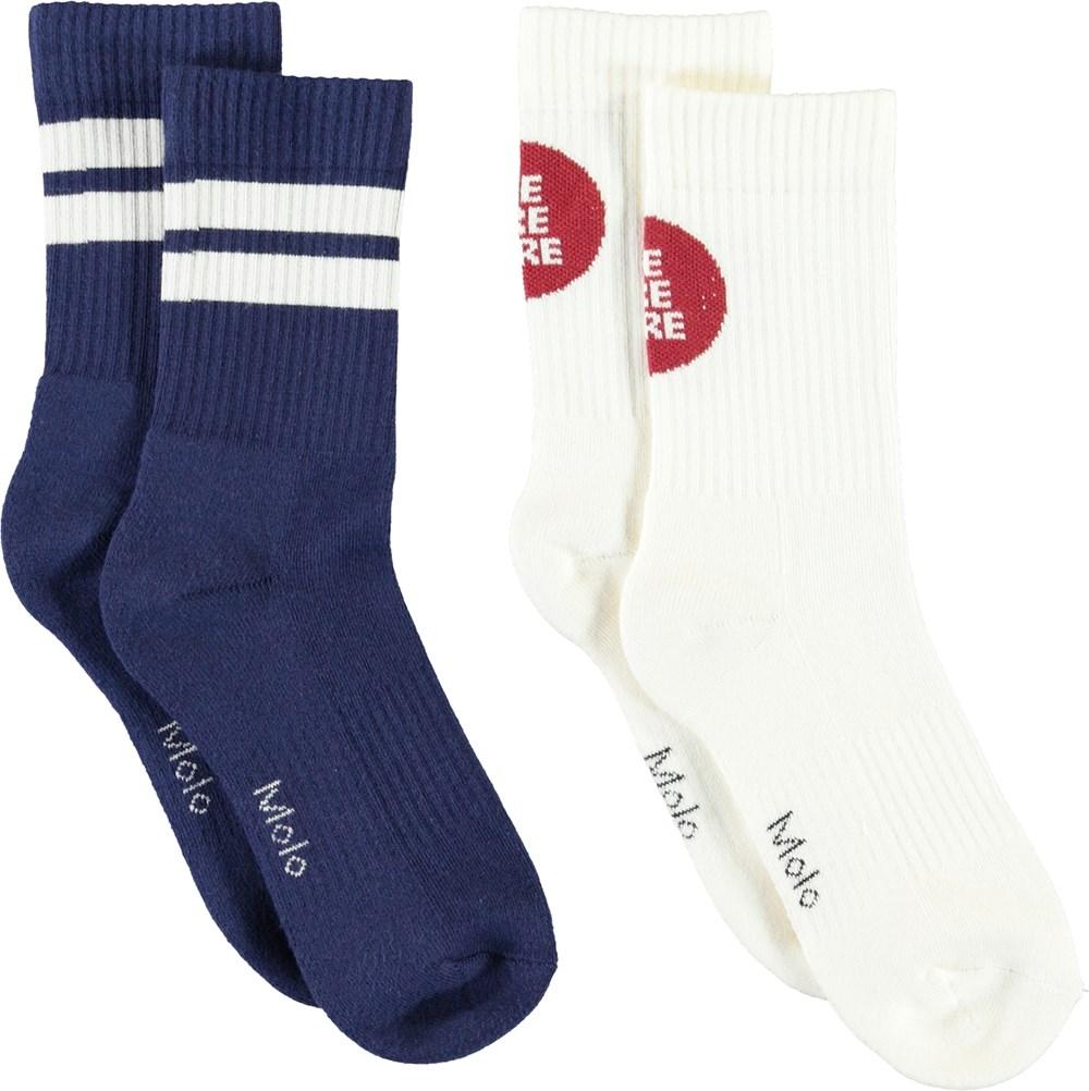 Norman - Dark White - To par blå og hvide strømper