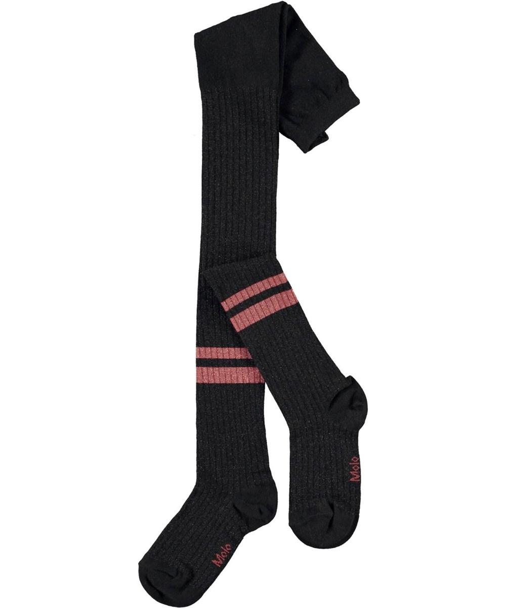 Sporty Rib Tights - Black - sorte strømpebukser med rosa striber
