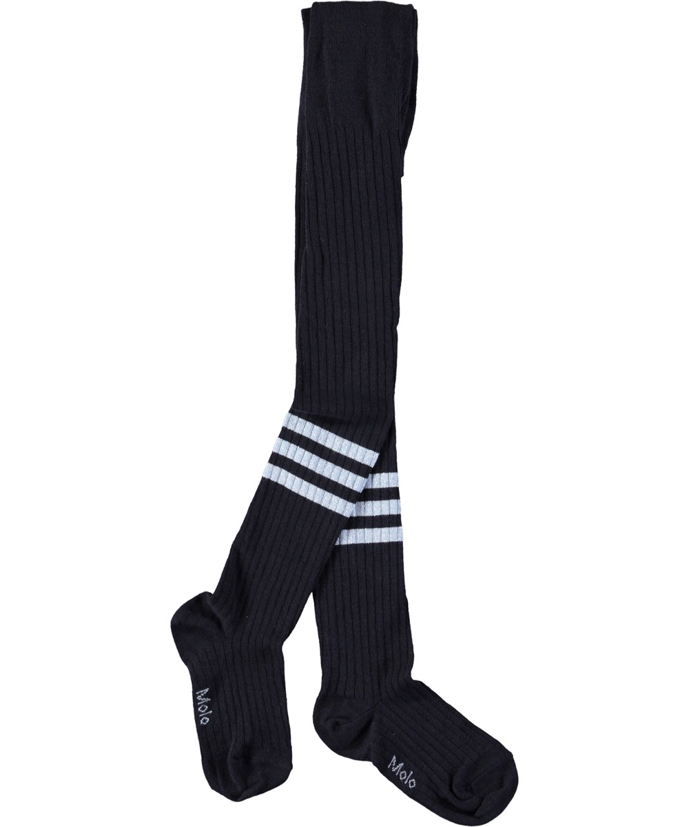 Sporty Rib Tights - Dark Navy - Mørkeblå, sporty strømpebukser i rib