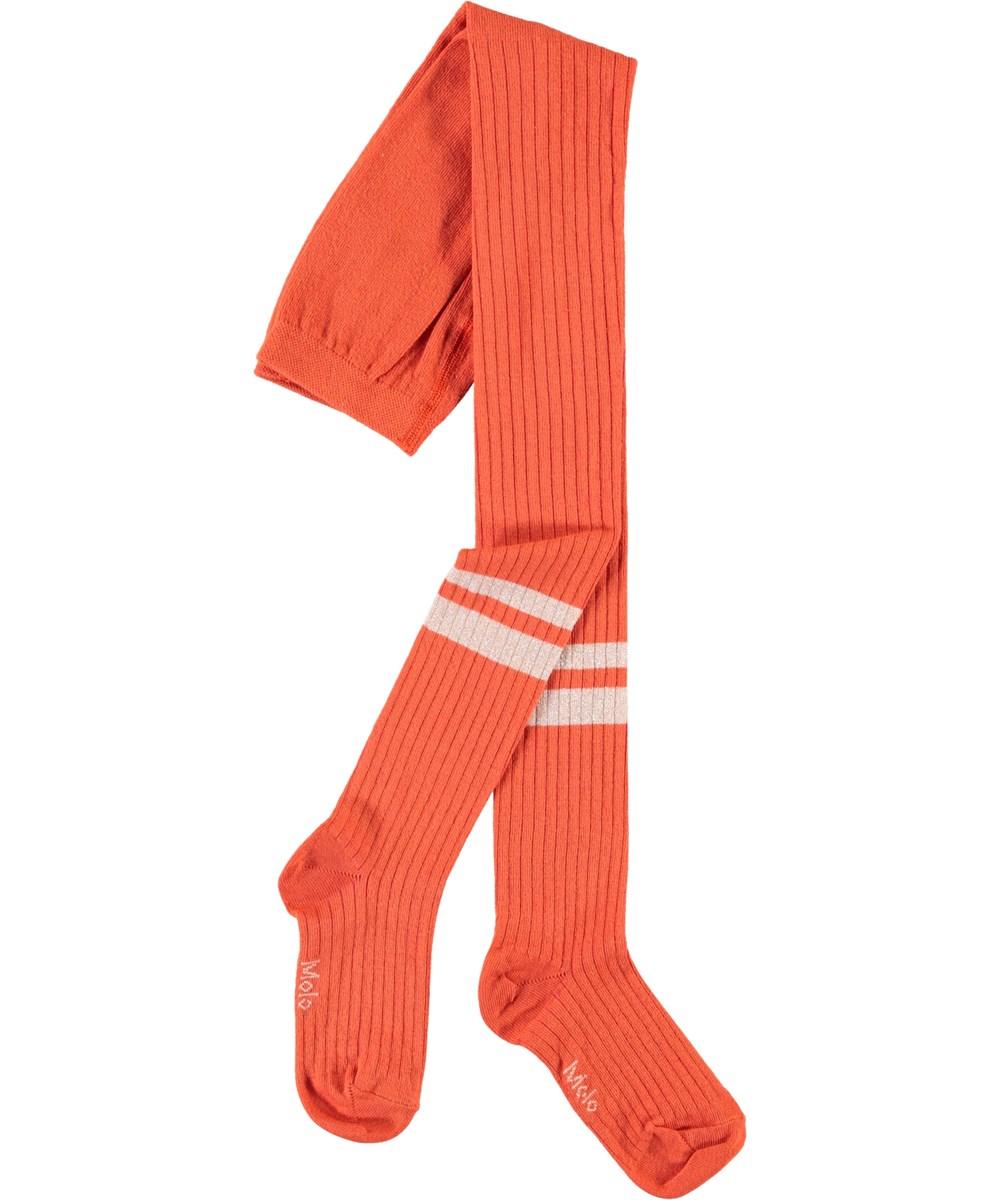 Sporty Rib Tights - Rising Sun - Orange strømpebukser med striber