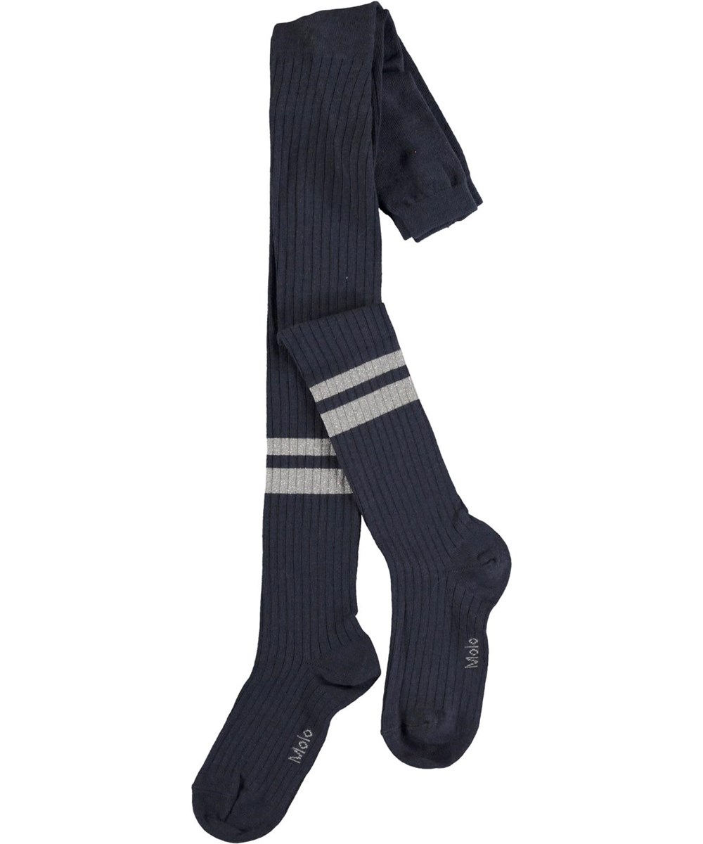 Sporty Rib Tights - Total Eclipse - Mørkeblå strømpebukser med lyseblå striber