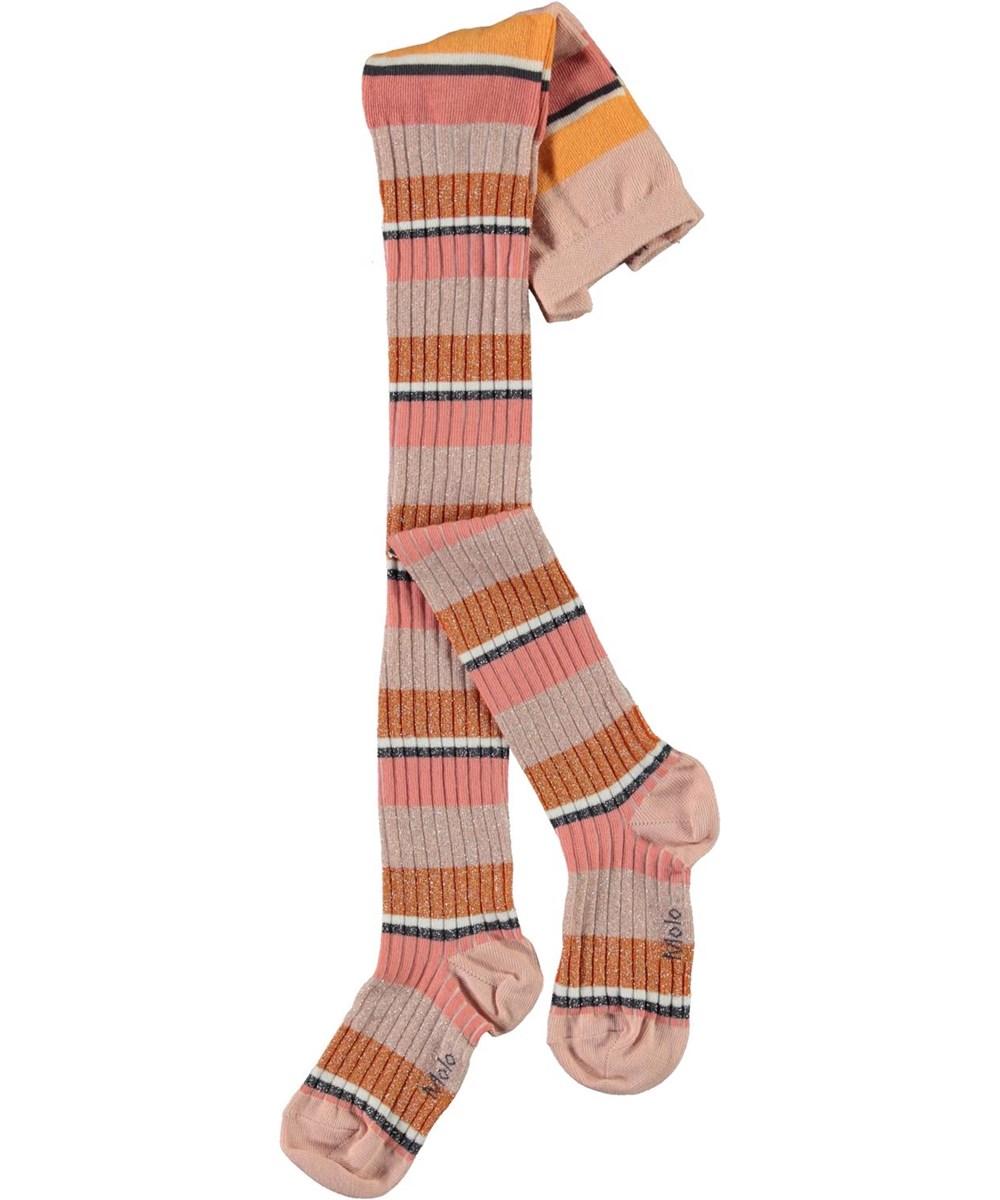 Stripy Tights - Coral Stripe - Stribede strømpebukser i orange og lyserød