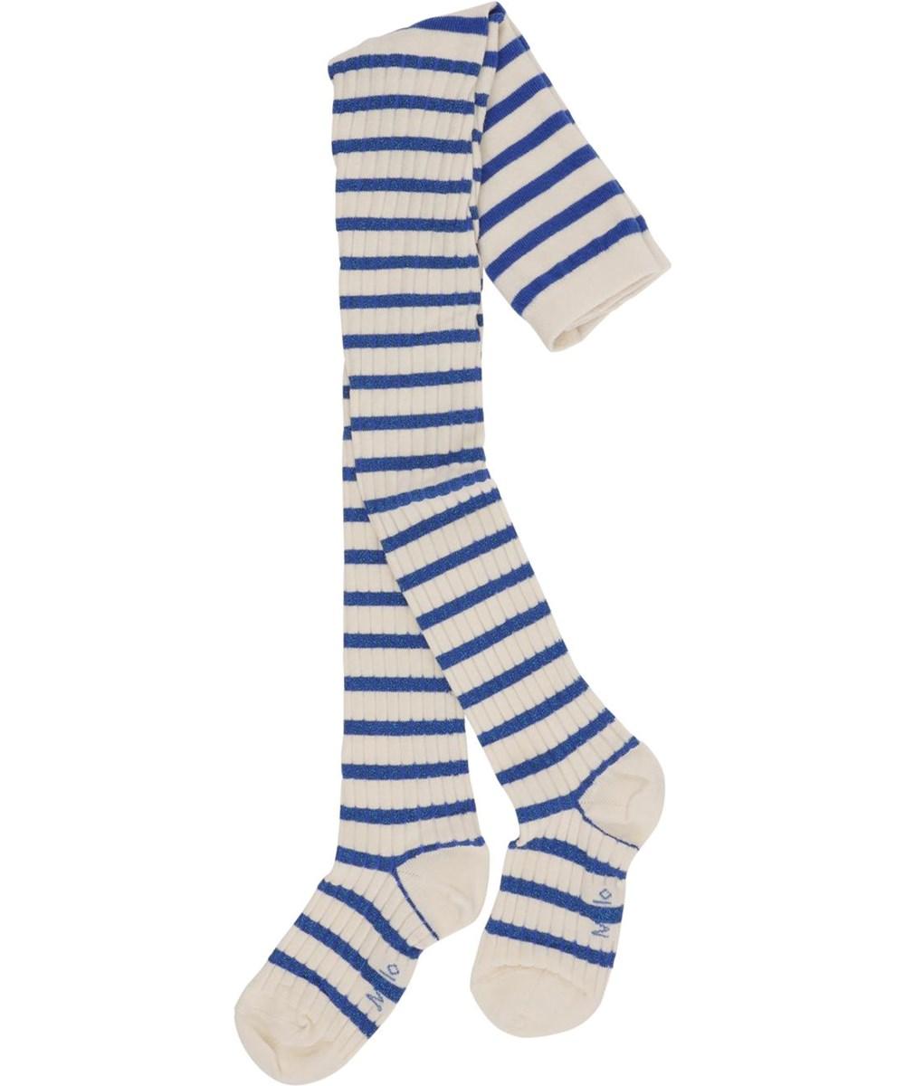 Stripy Tights - Glitter Breton - Hvide og blå stribede strømpebukser