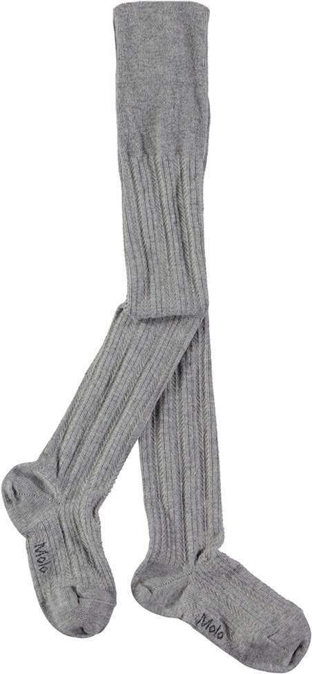 Structured Tights - Grey Melange - Grå strømpebukser med fint mønster