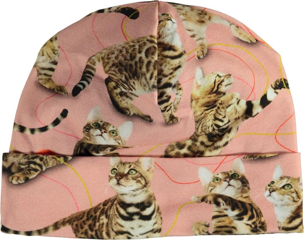 Namora - Wannabe Leopard - Lyserød hue med katte.