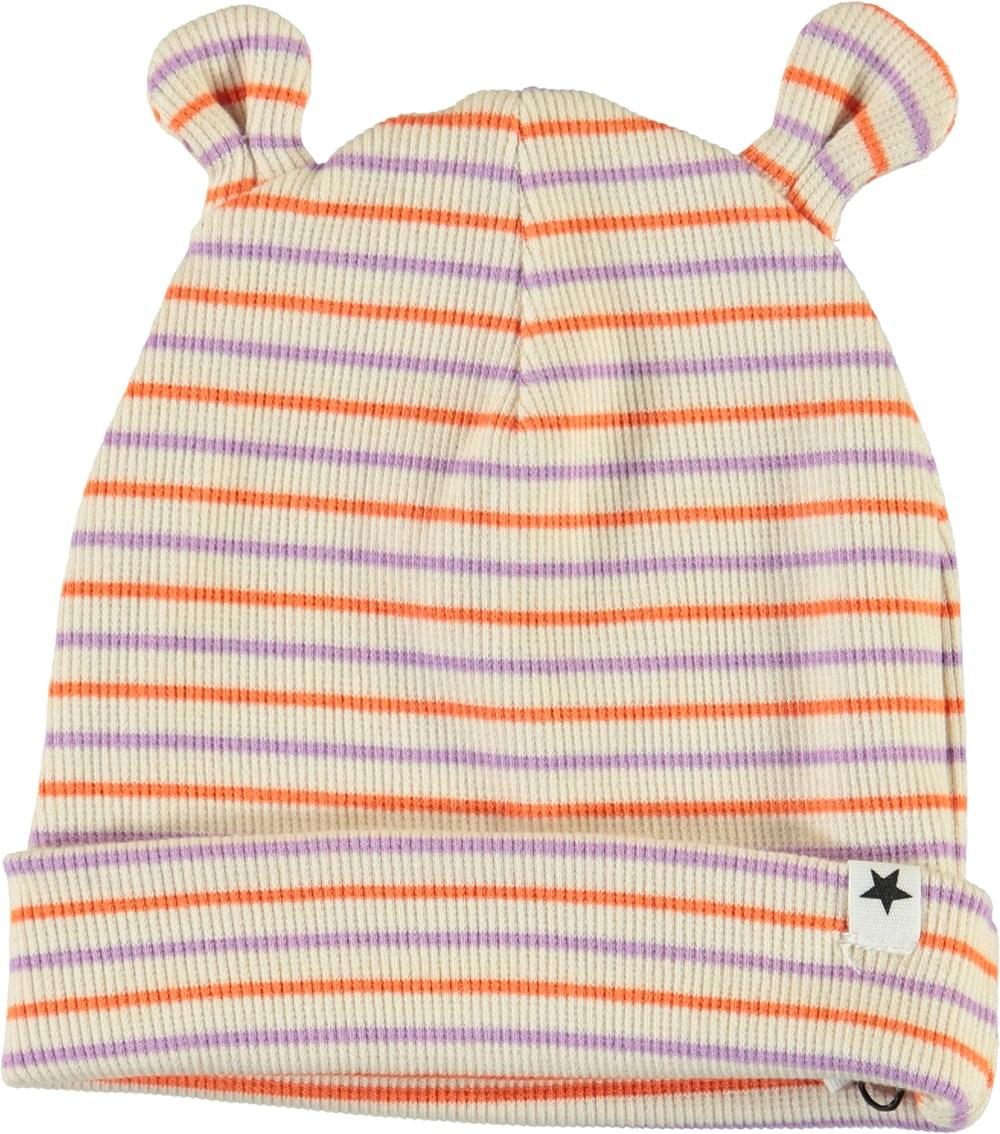Natali - Purple Orange Stripe - Stribet babyhue med ører