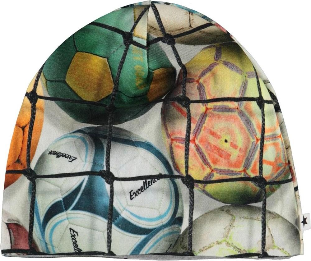 Ned - Footballs - Økologisk babyhue med fodbold print
