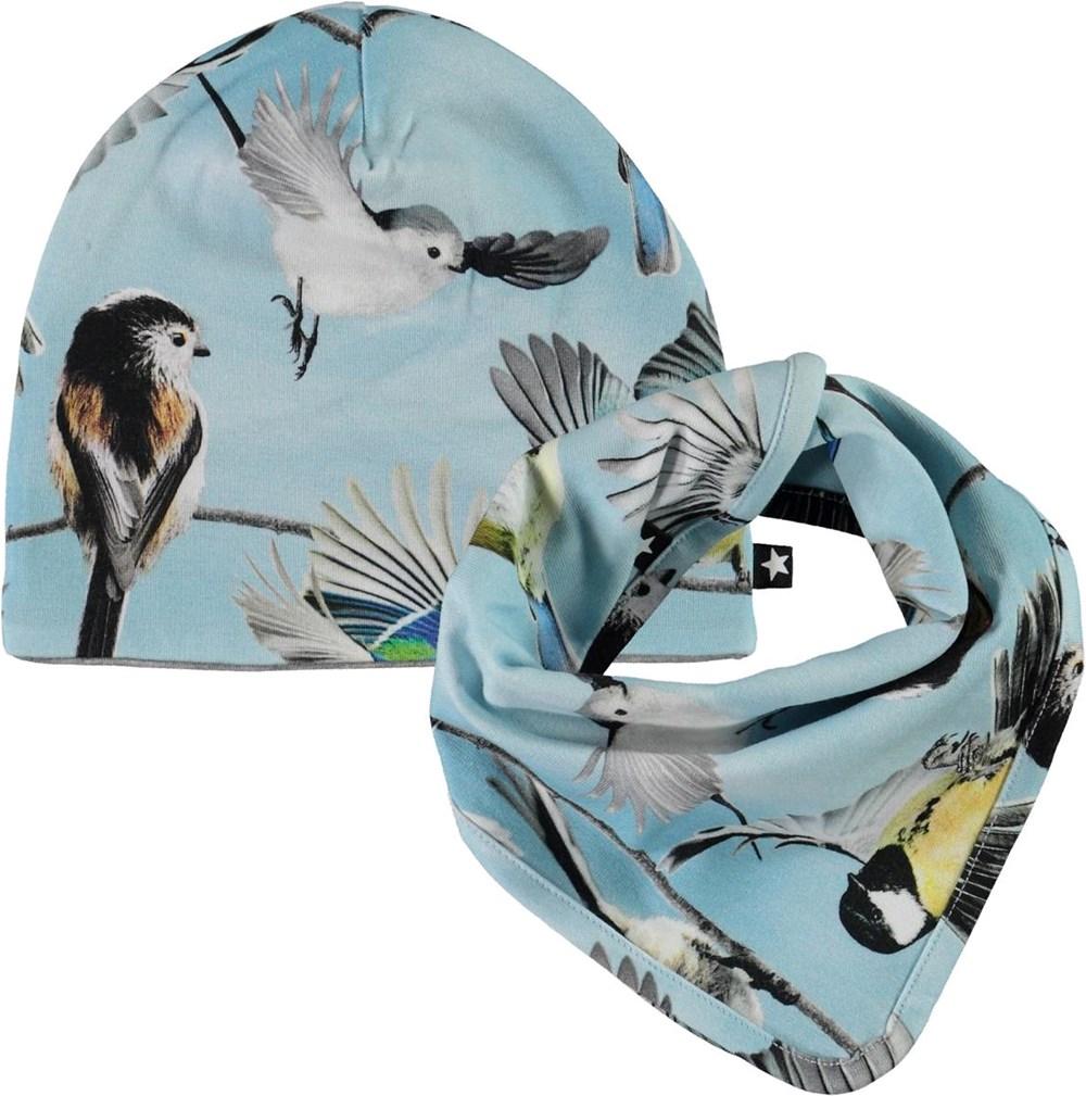 Ned Hat and Bib Set - Baby Birds - Babyhue og hagesmæk i lyseblå med print af små fugle