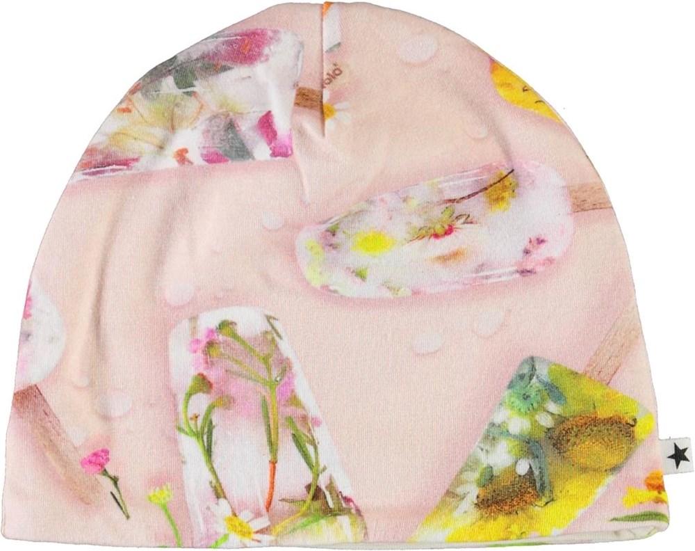 Ned - Ice Lollies - Økologisk lyserød babyhue med is print
