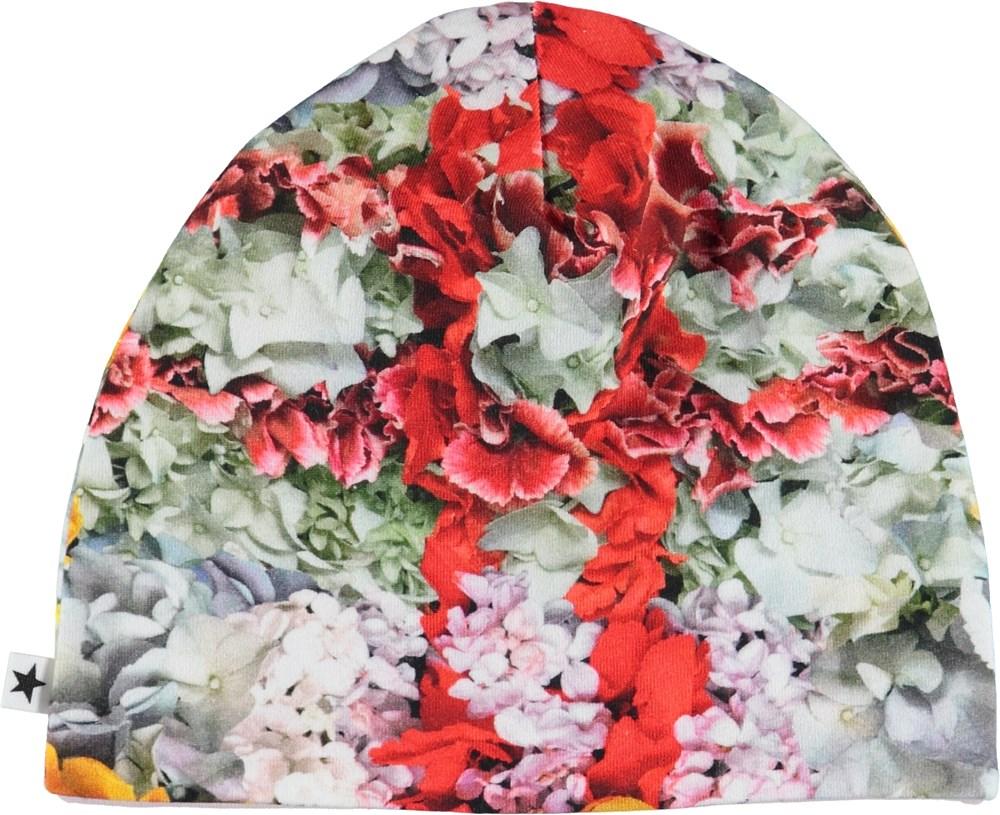 Nedine - Checked Flowers - Babyhue med blomster i tern.