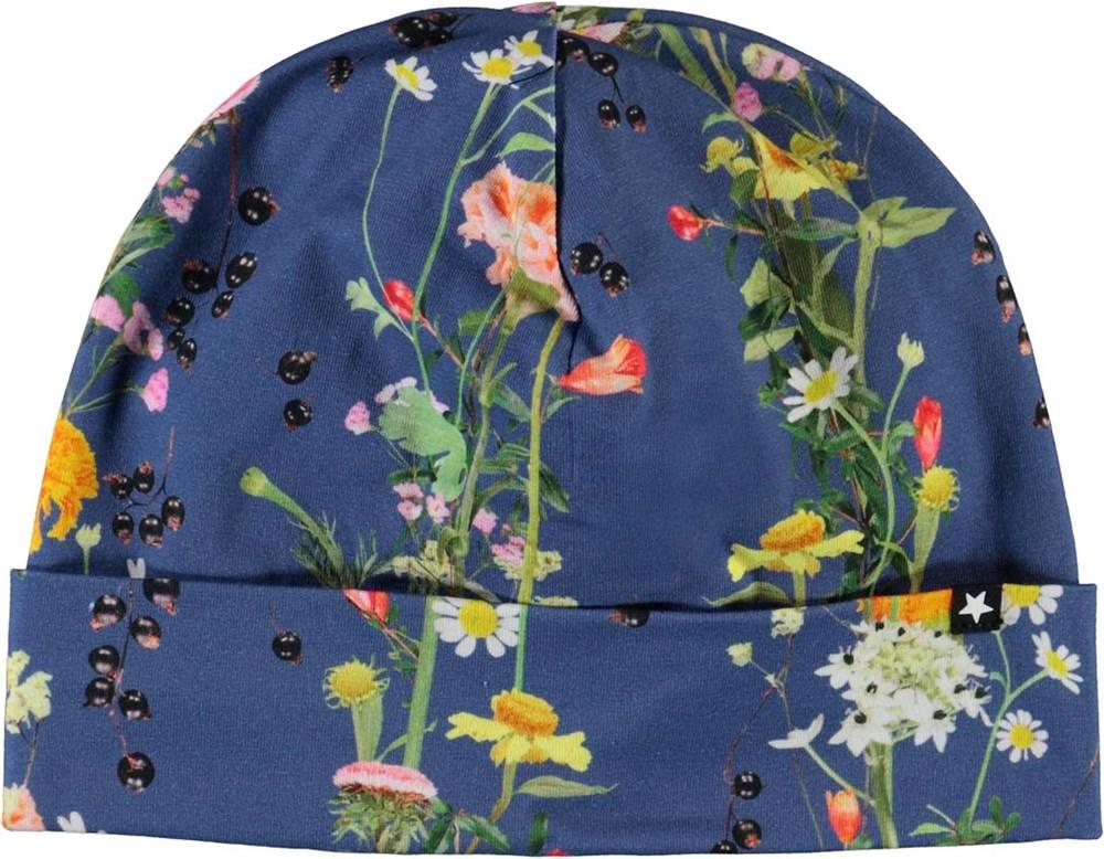 Nico - Vertical Flowers - Blå hue med print af blomster