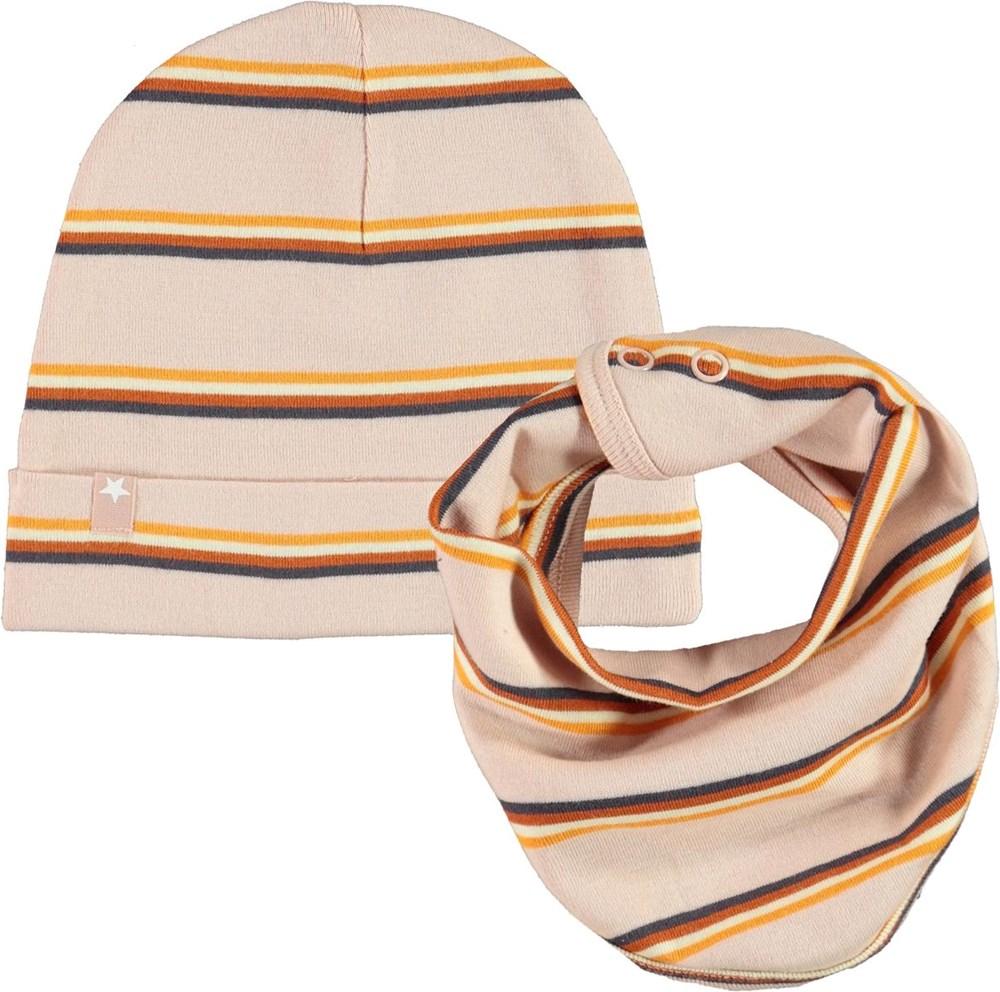 Noe Hat and Bib Set - Cameo Stripe - Stribet babyhue og hagesmæk i lyserød