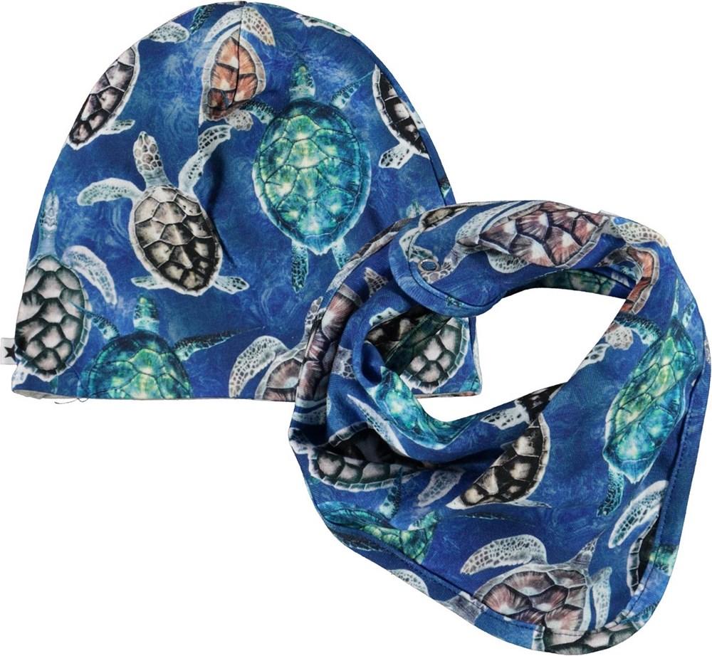 Noon Bib and Hat Set - Mini Turtles -