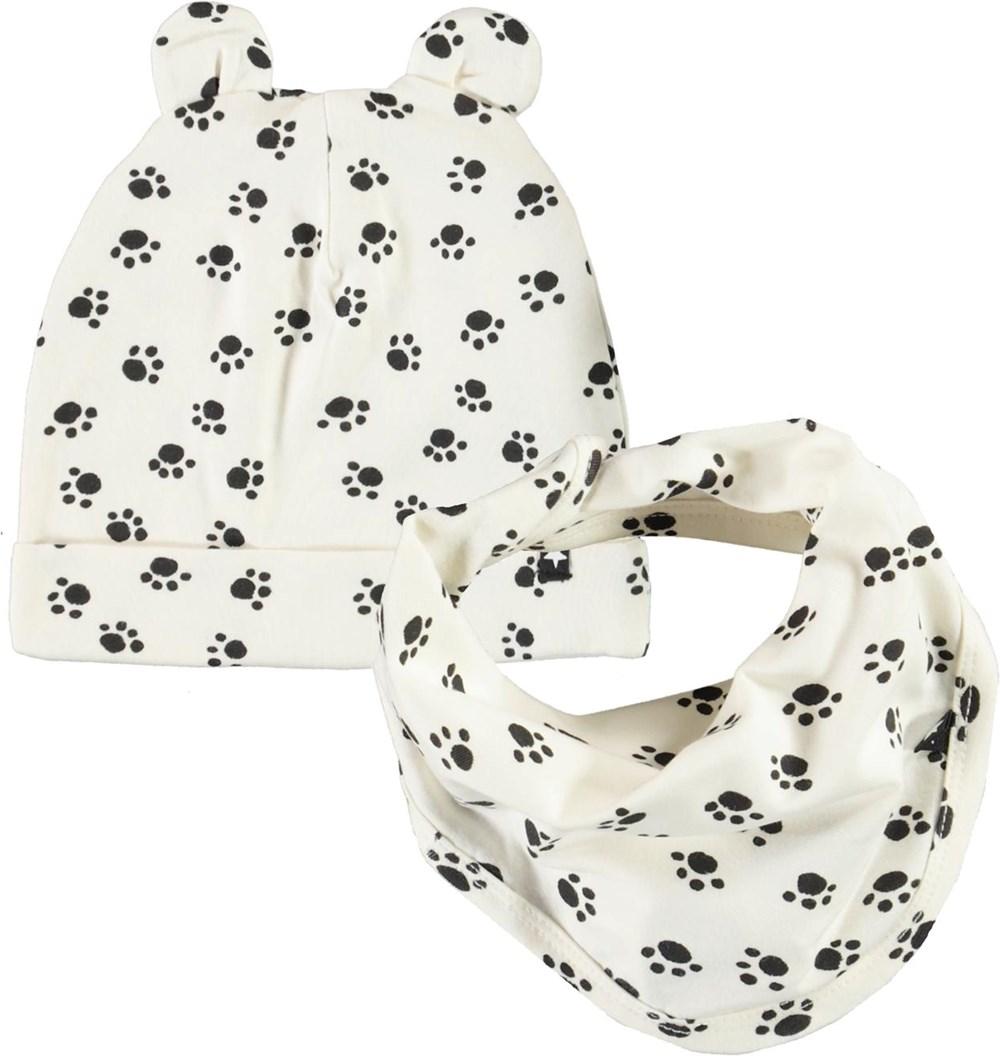 Noon Bib and Hat Set - Puppy Paws - Babyhue og hagesmæk med hundepote print