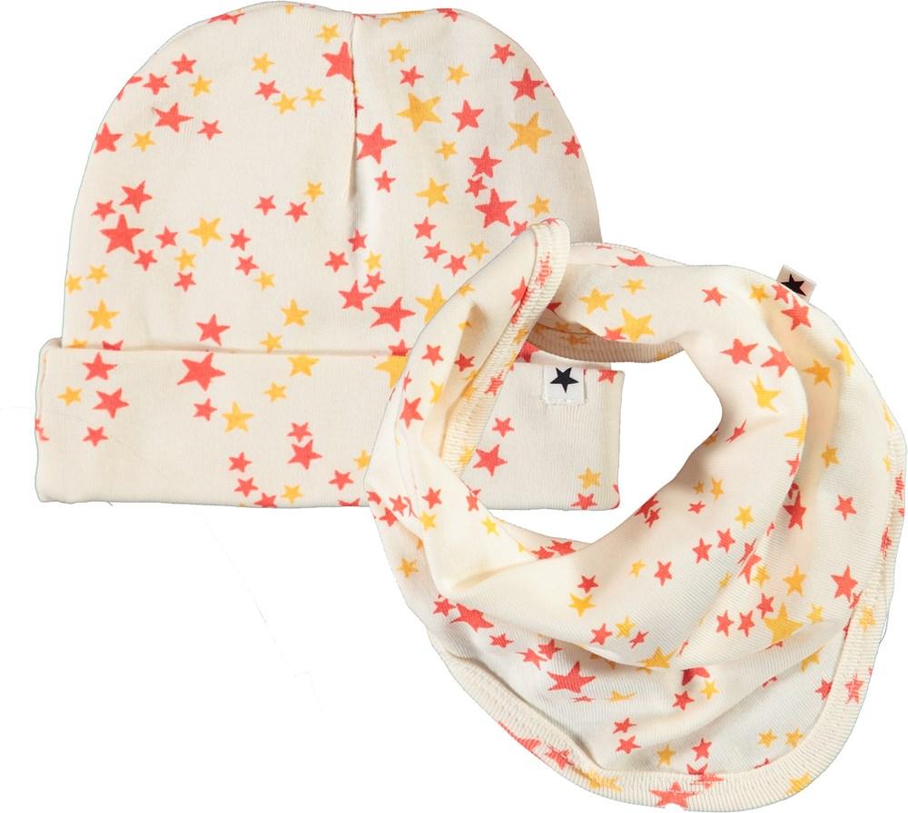 Noon Bib and Hat Set - Starry Pearled - Babyhue og hagesmæk med stjerne print