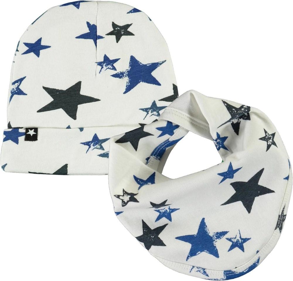 Noon Bib and Hat Set - Stars - Babyhue og hagesmæk med stjerne print