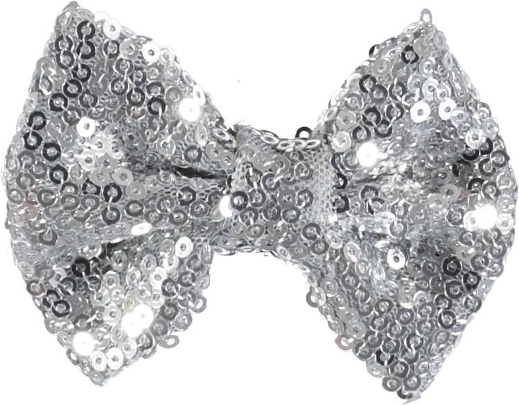 Sequin Bow Hair Clips - Silver - Sløjfespænde med sølvfarvede pailletter