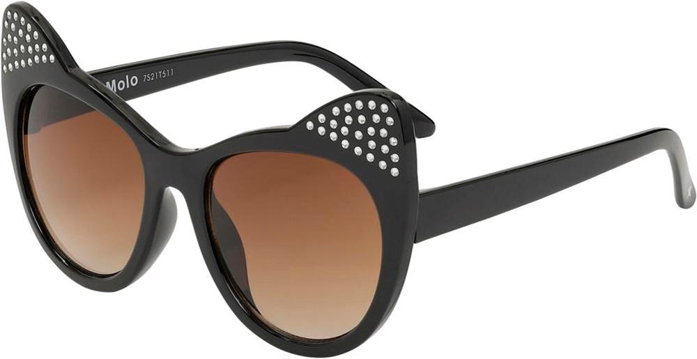 Sherlyn - Black - Sorte katte solbriller med simili sten.