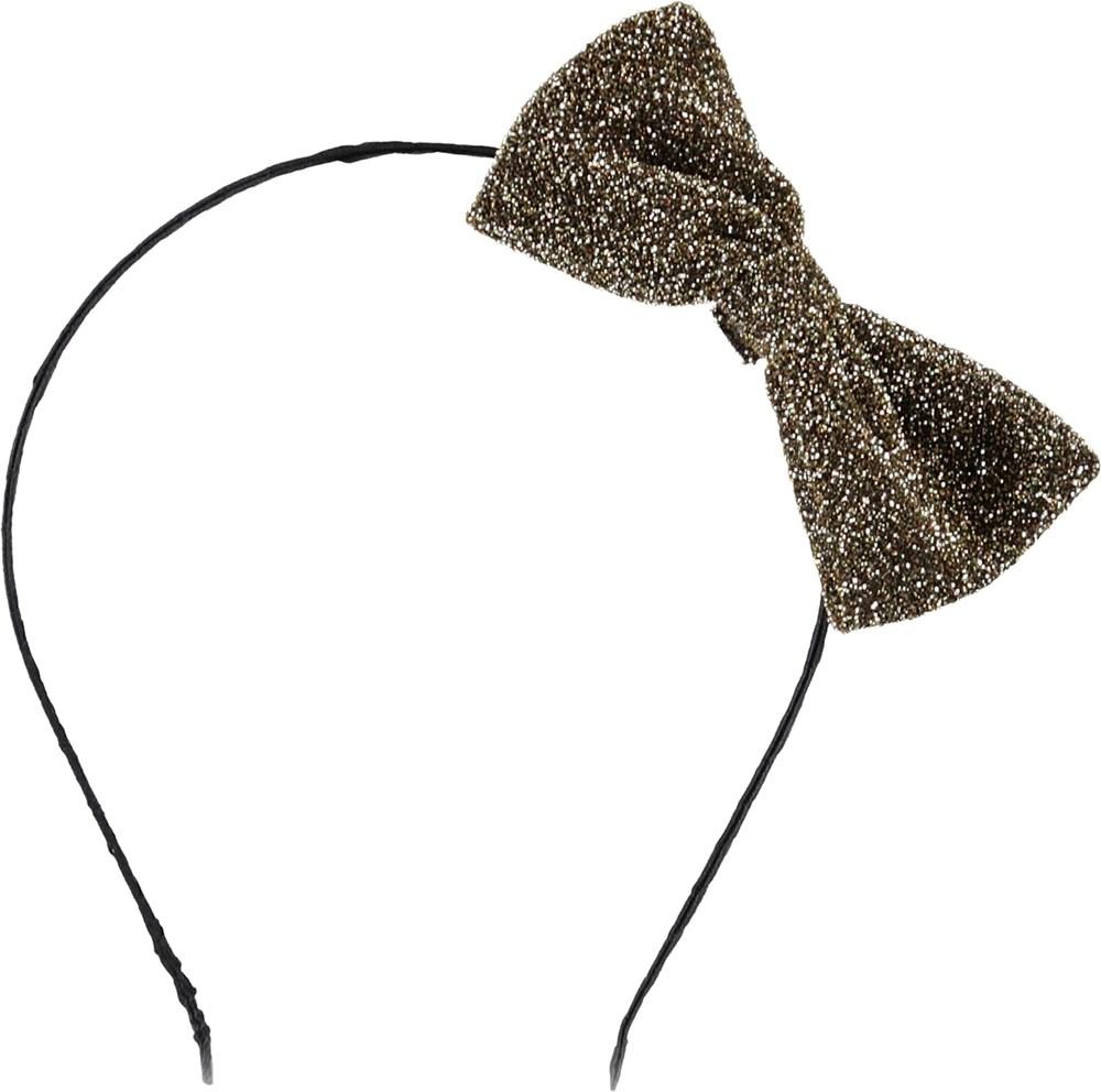 Shimmer Hair Band - Gold - Hårbøjle med glimmer sløjfe.