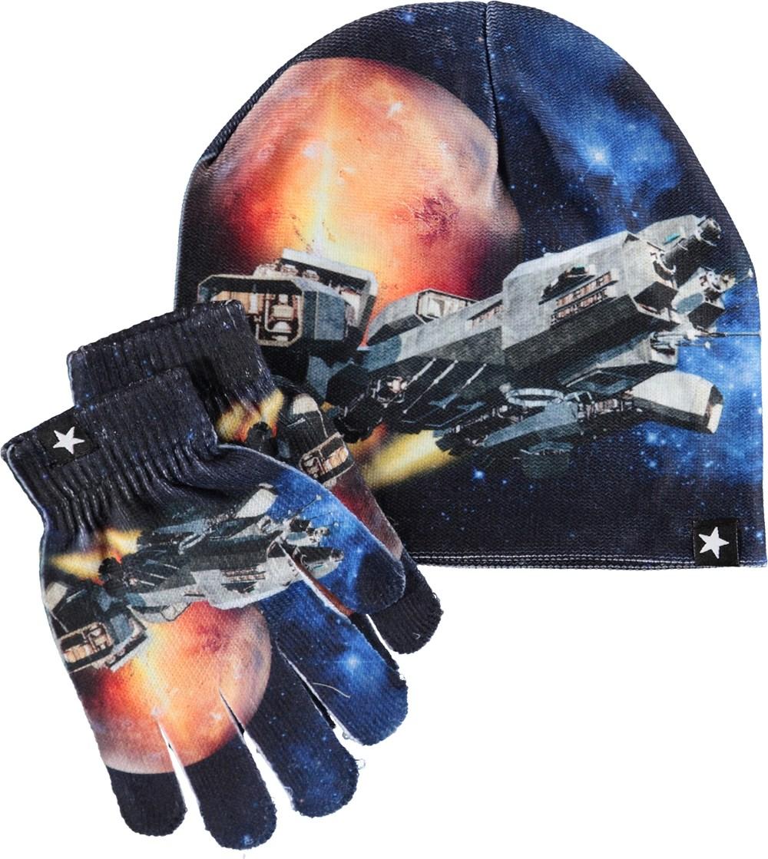 Kaya - Space - Hue og vanter med rumskibe.