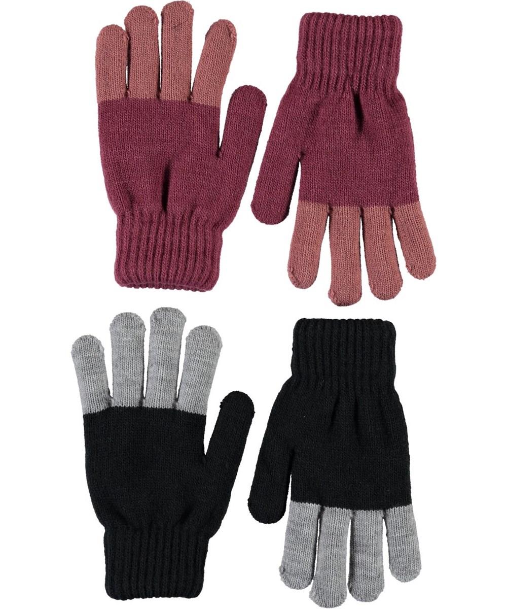 Keen - Desert Sand - To par strik handsker rosa og sort