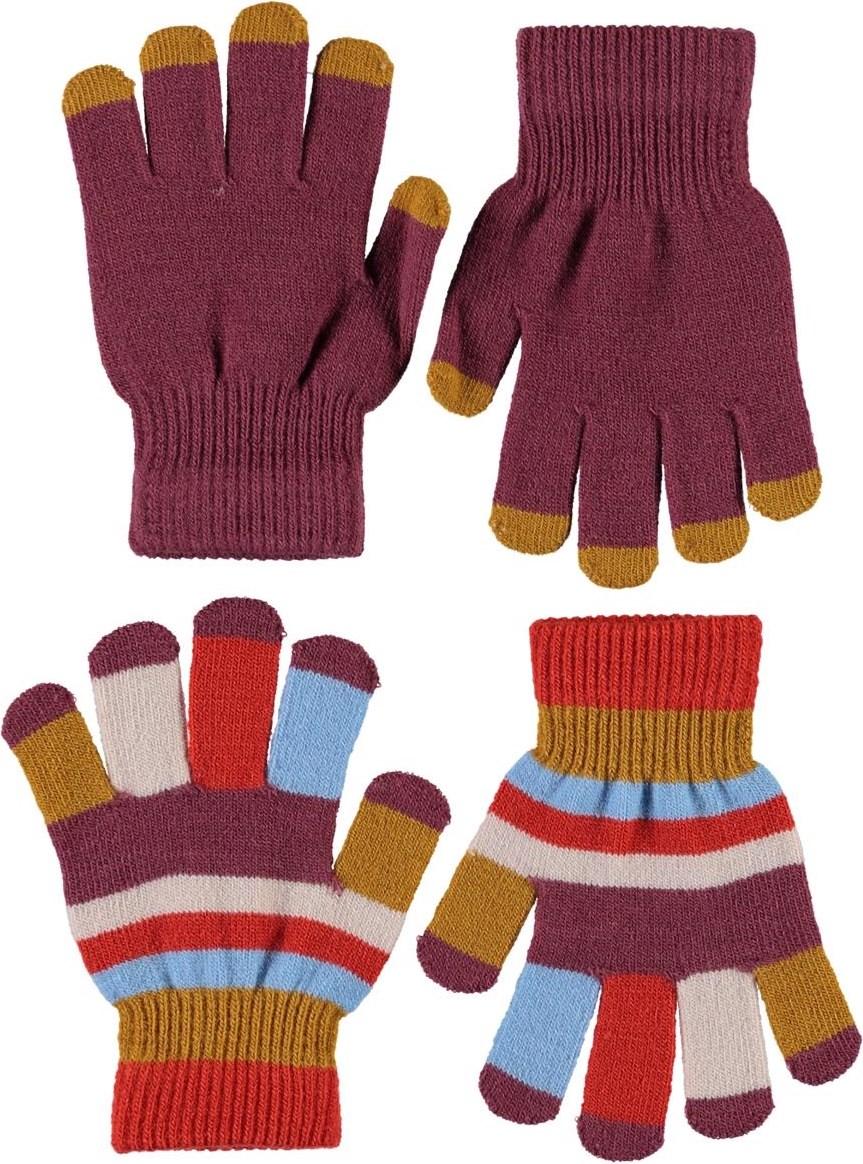 Kei - Maroon - To par stribede strik handsker