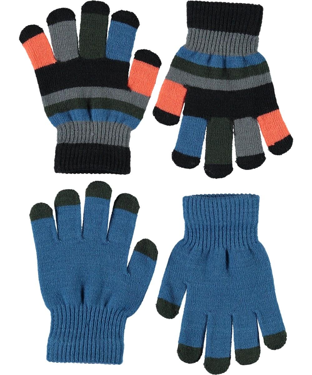 Keio - Blue Waves - To par stribede strik handsker
