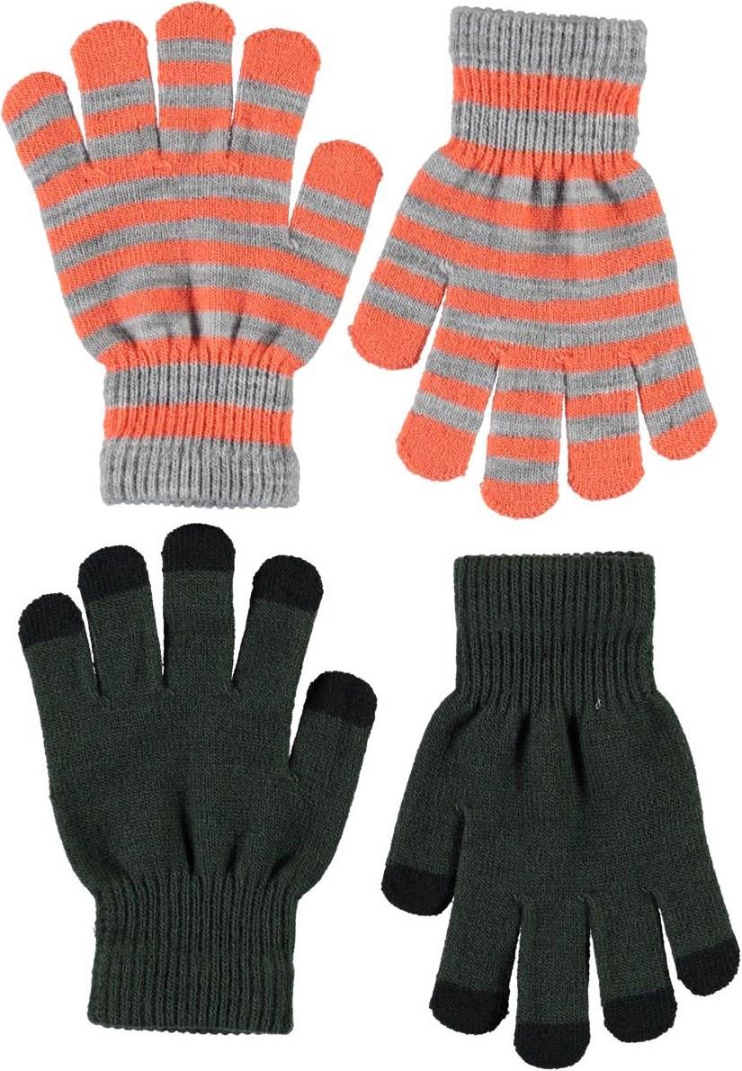 Keio - Deep Forest - To par stribede strik handsker