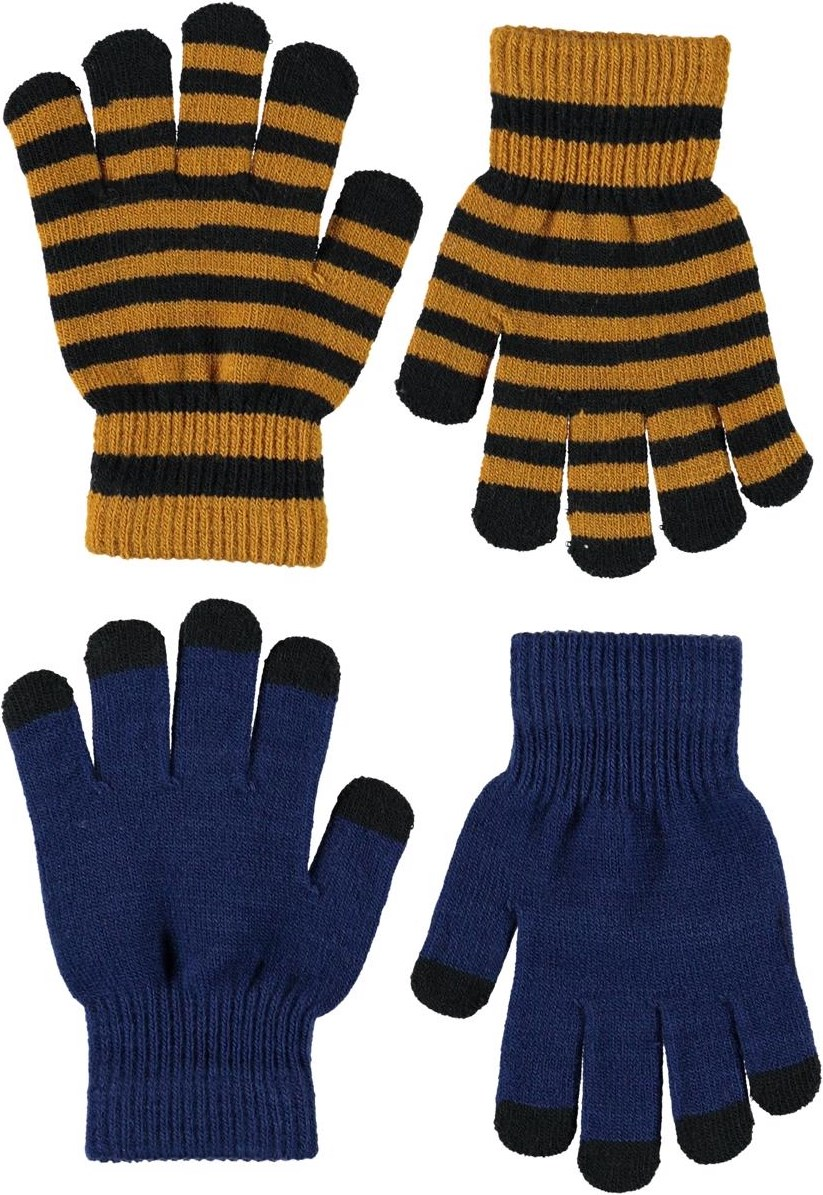 Keio - Ink Blue - To par stribede strik handsker