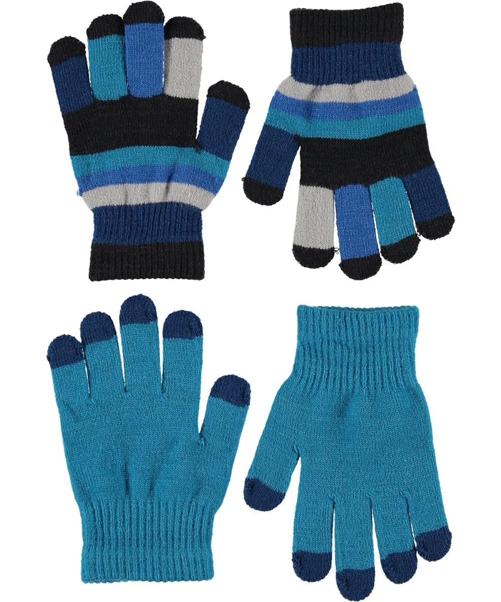 Keio - Frozen Blue - Handsker i turkis og striber.