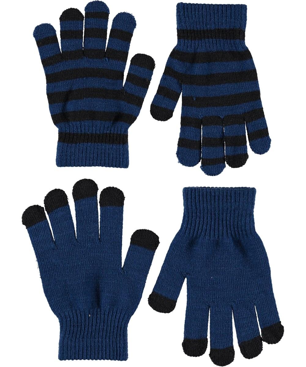 Keio - Ocean Blue - Handsker i blå og striber.