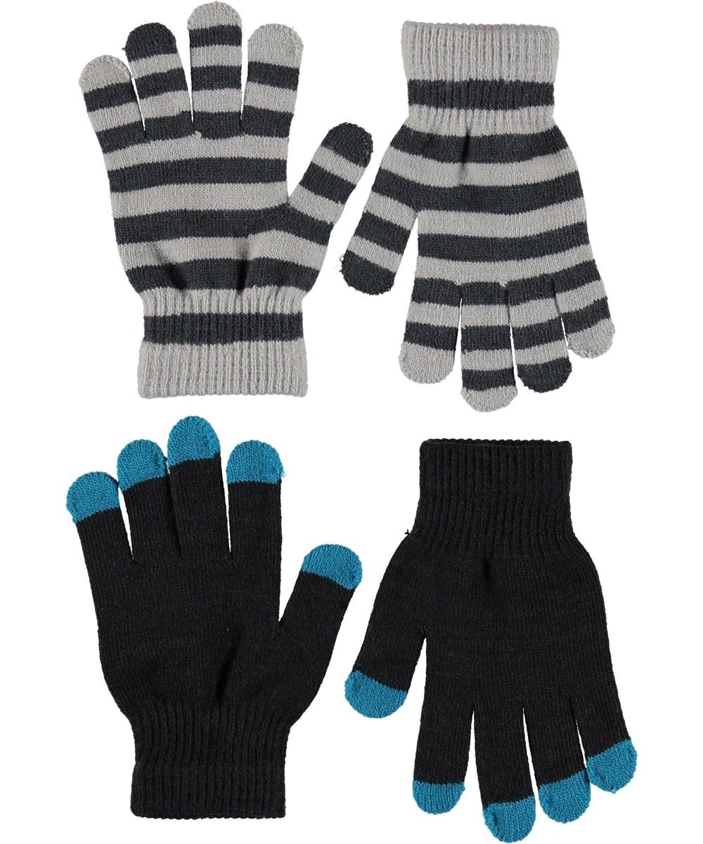 Keio - Very Black - Handsker i sort og striber.