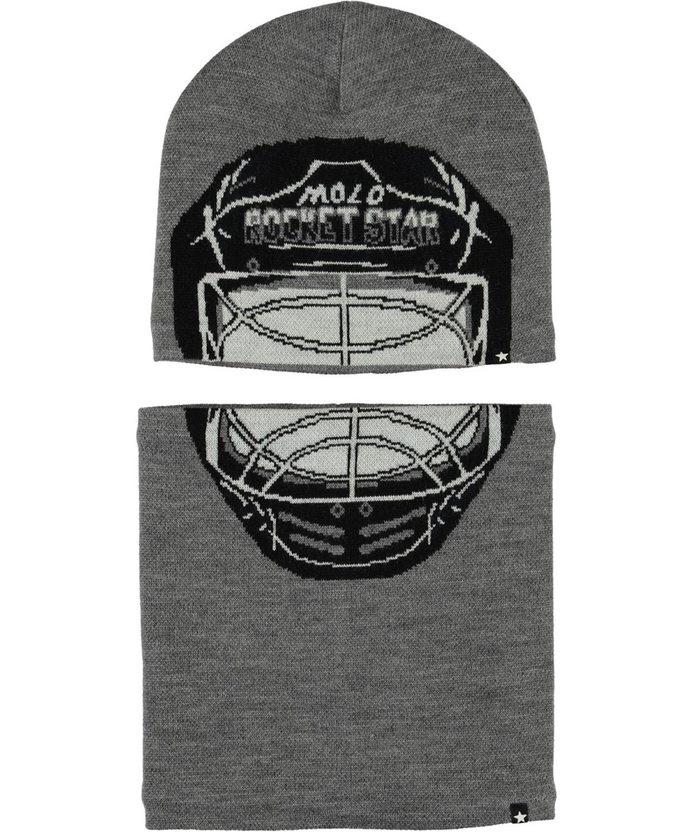 Kleo - Grey Melange - Ishockey hue og halsrør