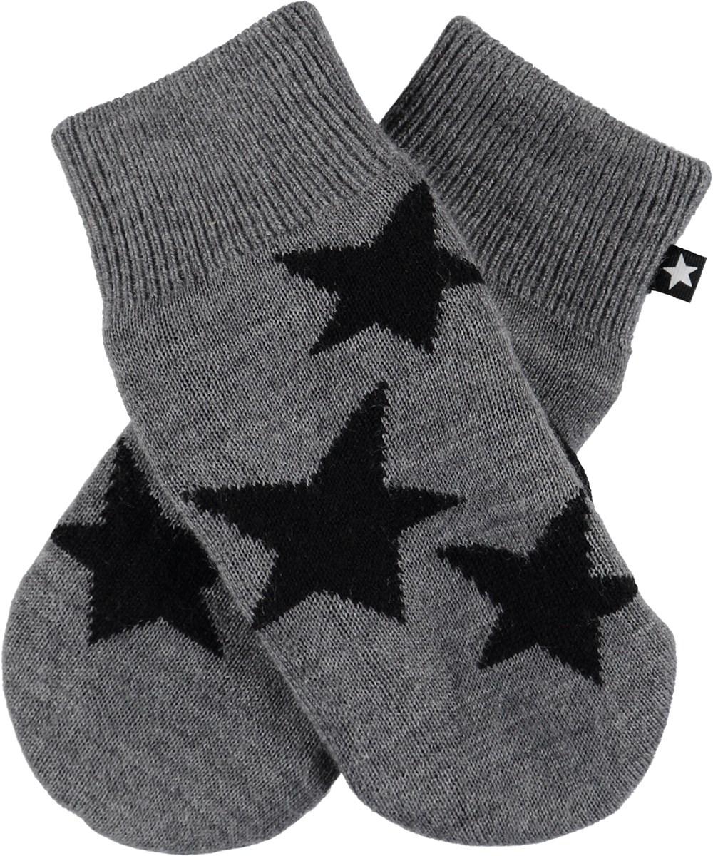 Snowfall - Grey Melange - Grå strik luffer med stjerner.