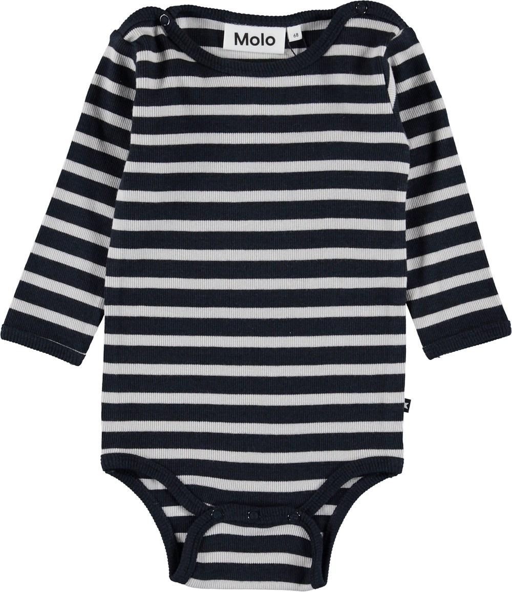 Fair - Carbon Stripe - Blue striped baby bodysuit.