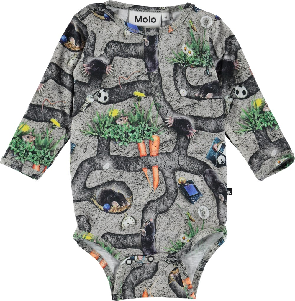 Fair - Moles - Long sleeve baby bodysuit with mole print.