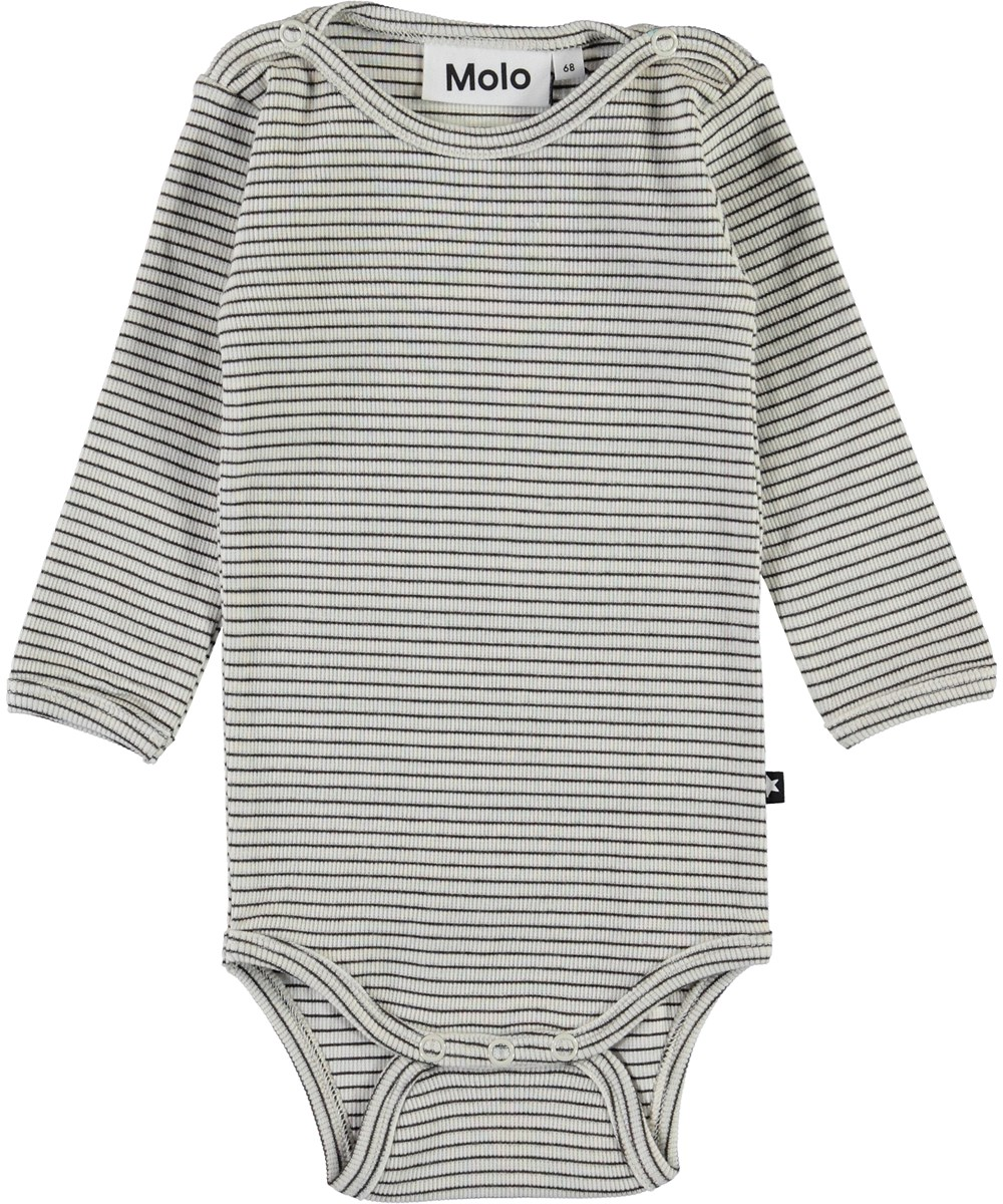Fair - White Brown Stripe - White and brown striped baby bodysuit