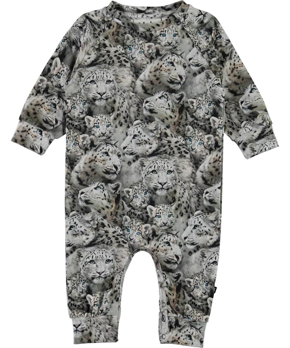 Fairfax - Baby Leopards - Organic baby bodysuit with snow leopard