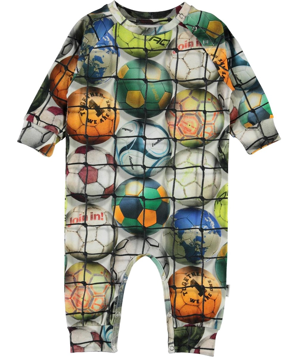 Fairfax - Footballs - Organic baby bodysuit with football print