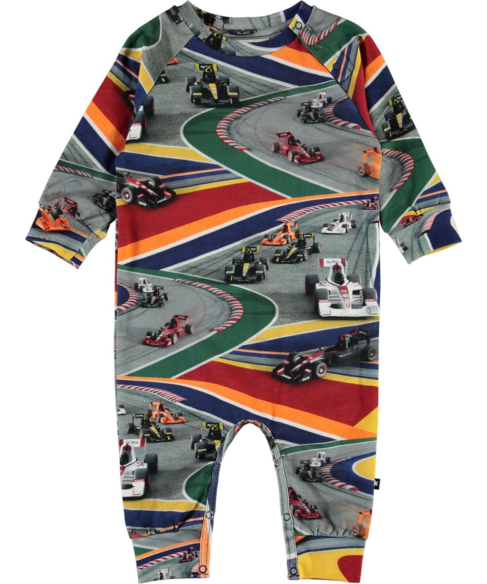 Fairfax - Full Speed - Organic baby romper with race cars