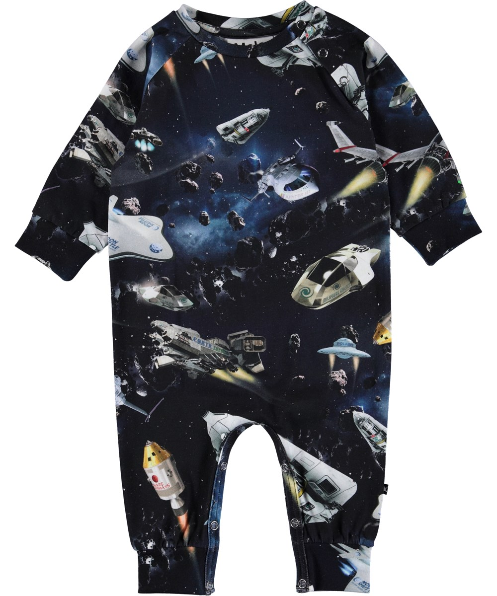Fairfax - Space Traffic - Baby romper with spaceships.