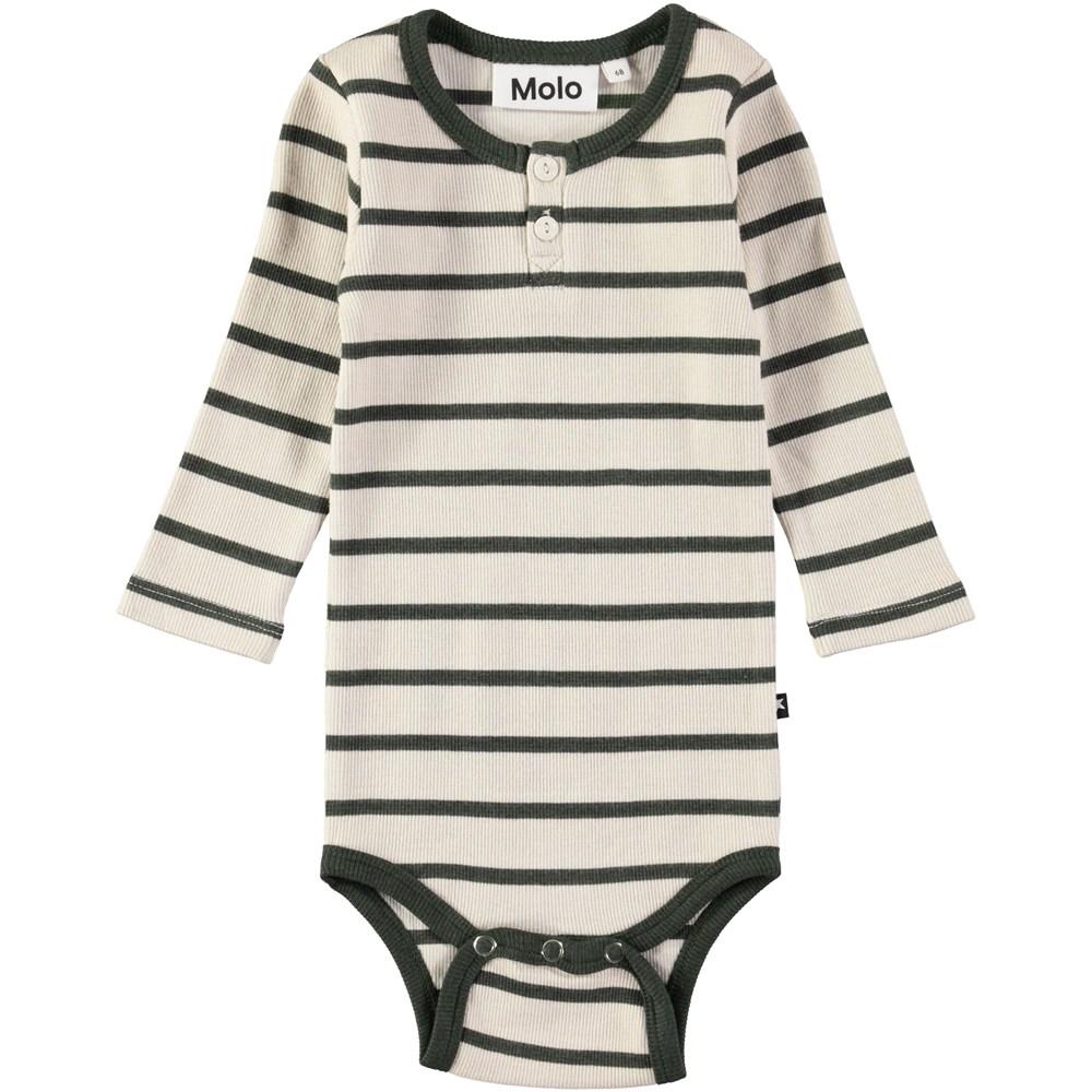 Falk - Deep Forest Stripe - Long sleeve, striped baby bodysuit in rib