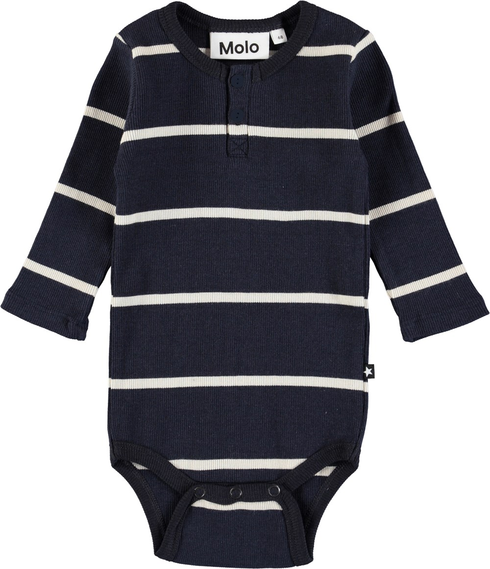 Falk - Dirty White Stripe - Long sleeve, striped baby bodysuit in rib