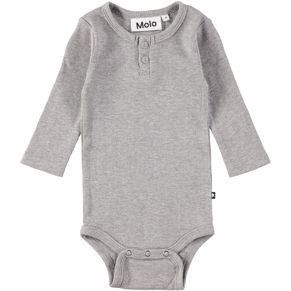 Falk - Grey Melange - Long sleeve, grey baby bodysuit in rib