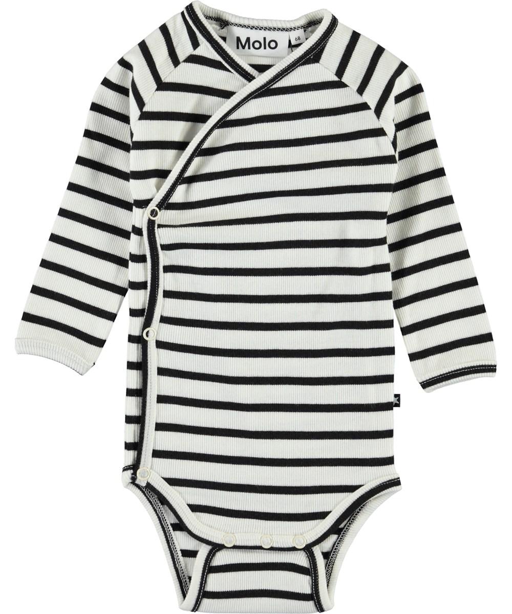 Fan - Black Stripe - Black and white striped baby body