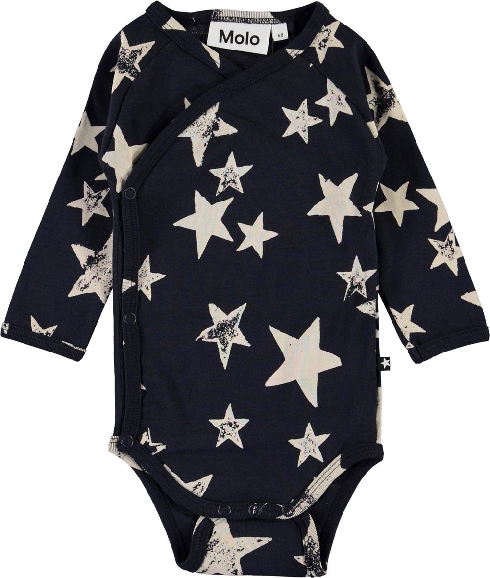 Fan - White Navy Star - Organic baby bodysuit with stars