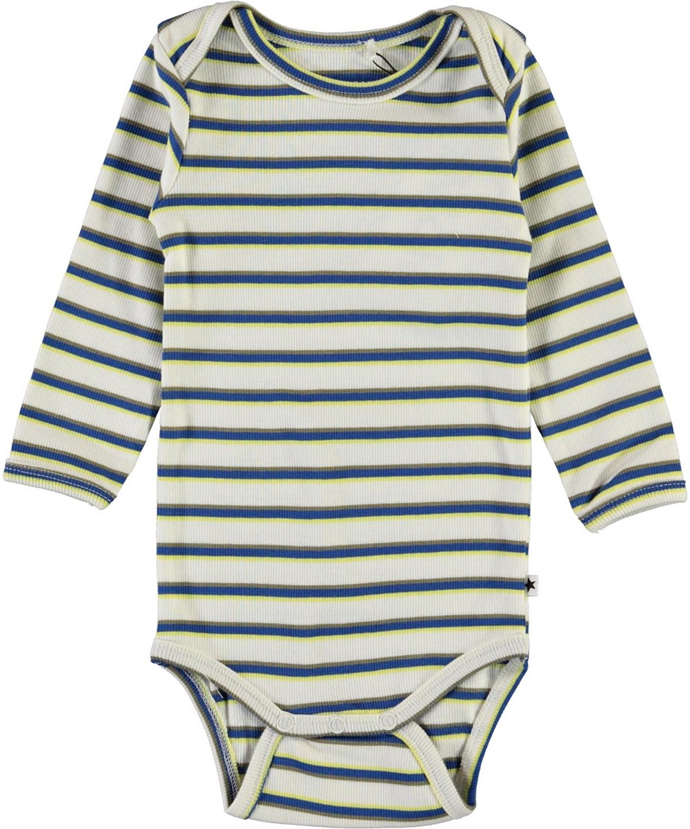 Faros - 4 Colour Stripe - White striped baby bodysuit